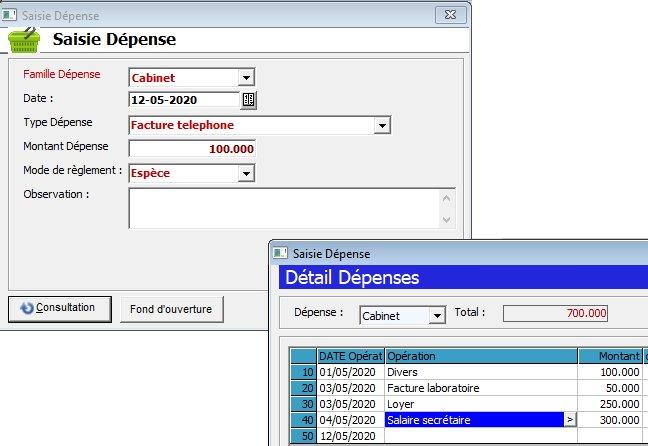 logiciel de cabinet médical medical plus Recettes dépenses