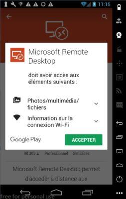Microsoft Remote Desktop - accepter