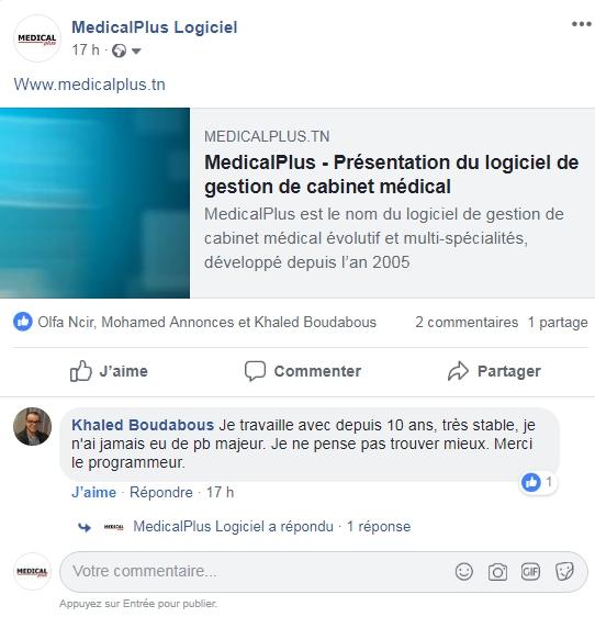 Témoignage médecin sur la page facebook medicalplus logiciel